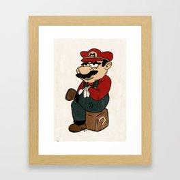 Super Bored Mario Framed Art Print