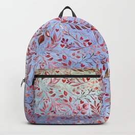 Bohemian Red Flourish in Coral Blue Backpack