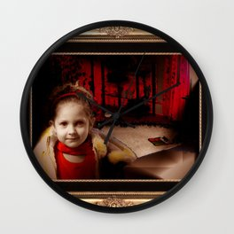 Ava in Red Wall Clock