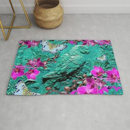 PURPLE ORCHIDS BUTTERFLIES TURQUOISE TROPICAL MACAW PARROT Rug