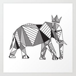 Geometric Elephant Art Print