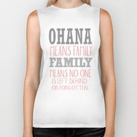 ohana Biker Tanks featuring ohana means family.. pink by studiomarshallarts