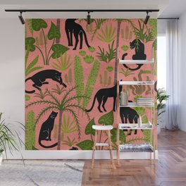 Tropical Panther Pattern Wall Mural