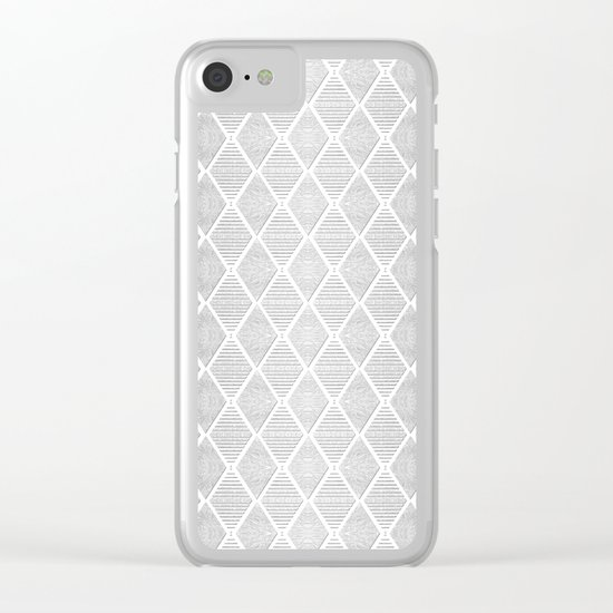 White and Silver Geometric Pattern Clear iPhone Case
