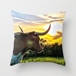 Illuminated Longhorn Sunset Throw Pillow