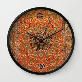 Central Persia Qum Old Century Authentic Colorful Orange Yellow Green Vintage Patterns Wall Clock