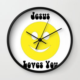 Smiley Face - Jesus Loves You Wall Clock