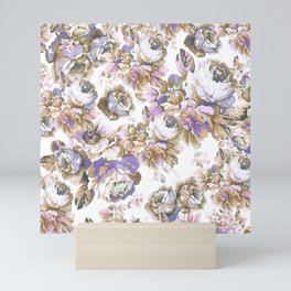 Bohemian vintage rustic brown lavender floral Mini Art Print