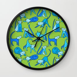 kitty kat (blue on green) Wall Clock