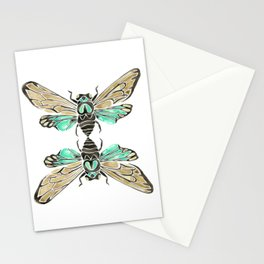 Summer Cicada – Mint & Tan Palette Stationery Cards