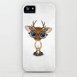 Cute Curious Nerdy Baby Deer Wearing Glasses iPhone Case