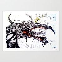 the hound Art Prints featuring Hound by C A R E Y  M O R T O N