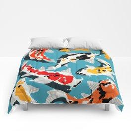 Colorful Koi Carps Swimming Around Comforters