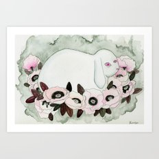 White Rabbit, Pink Poppies Art Print