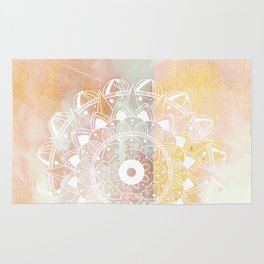 Delicate white mandala on pink Rug