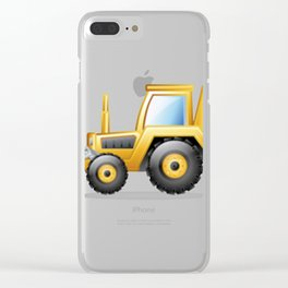 Yellow Excavating Tractor Icon Clear iPhone Case