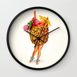 Tiki Cocktail Pin-Up - Pineapple Wall Clock