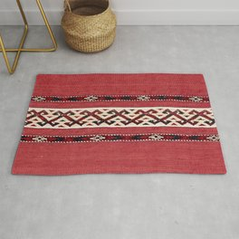 Triangle Stripe Kilim 19th Century Authentic Colorful Red Black White Vintage Patterns Rug