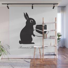 Bunnies Love Cake, Bunny Illustration, cake lovers, animal lover gift Wall Mural
