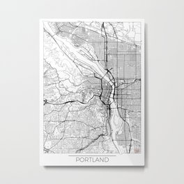 Portland Map White Metal Print