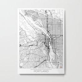Portland Map White Metal Print