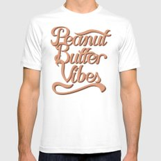 Peanut Butter Vibes MEDIUM White Mens Fitted Tee