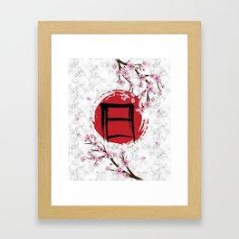 Blooming Sakura and red Sun Framed Art Print