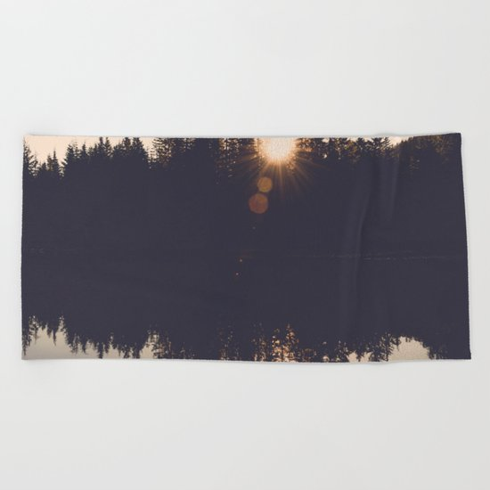 Wooded Lake Reflection Beach Towel