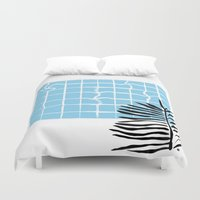 swimming Duvet Covers featuring Swimming pool by Emmanuelle Ly