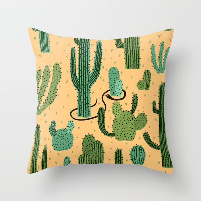 The Snake, The Cactus and The Desert Throw Pillow