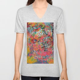 Urban Graffiti Abstract Sprayed Wall Art  Unisex V-Neck