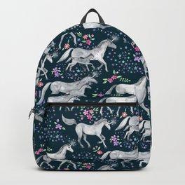 Unicorns and Stars on Dark Teal Backpack
