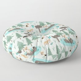Majesty Pembroke - Happy Corgis Are Fishing In Forest Lake Floor Pillow