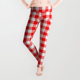 Australian Flag Red and White Jackaroo Gingham Check Leggings