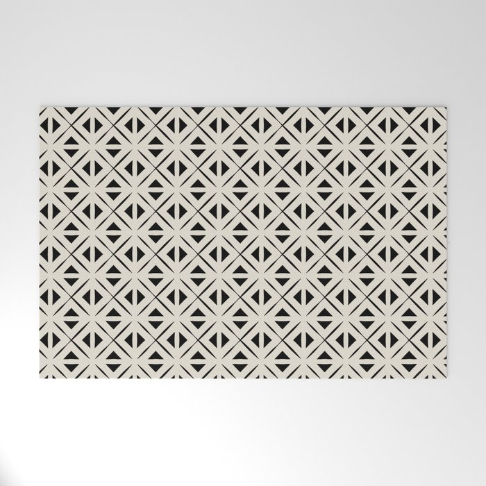 Bohemian Tile in Black and Cream Welcome Mat
