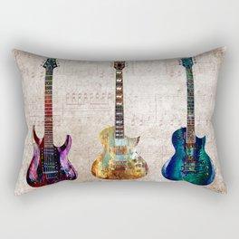 Sounds of music. Three Guitars. Rectangular Pillow