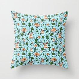 Cute Desert and Fennec Fox Pattern Throw Pillow