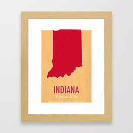 Indiana State Map - Hoosier State Framed Art Print