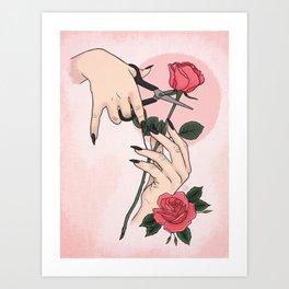 Morticia Addams Trims the Roses Art Print