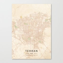 Tehran, Iran - Vintage Map Canvas Print