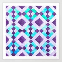 Purple Geometric Tribal Watercolor Art Print