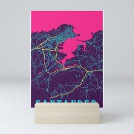 Santander Neon City Map, Santander Minimalist City Map Art Print Mini Art Print