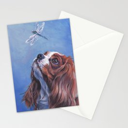 Beautiful Blenheim Cavalier King Charles Spaniel Dog Painting by L.A.Shepard Stationery Cards