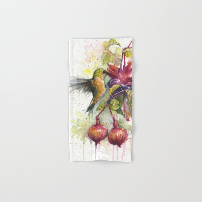 Hummingbird and Fuchsia Watercolor Hand & Bath Towel
