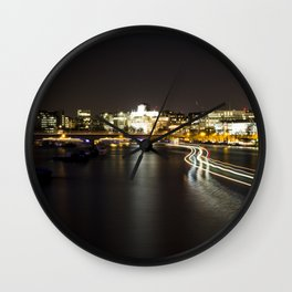 Ferry going by on the Thames Wall Clock