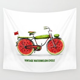 ORGANIC INVENTIONS SERIES: Vintage Watermelon Bicycle Wall Tapestry