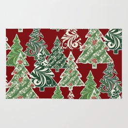 Peppermint Christmas Modern Trees with Mod Scroll Swirl Patterns Rug