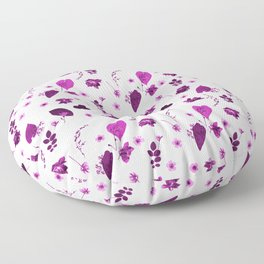 Purple Floral Pattern Pressed Flowers and Leaves Floor Pillow