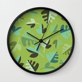 Shades of Green Leaves Wall Clock