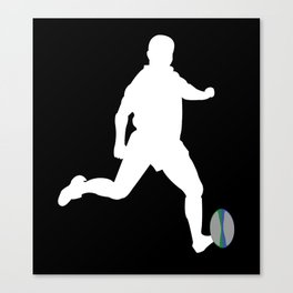 Rugby Player Kicking Ball Silhouette Canvas Print